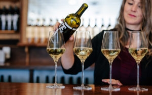 White wine glasses on the bar