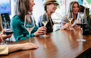 Ladies with wine glasses sitting at the bar