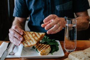 Hand holding panini