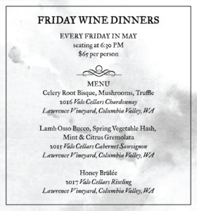 May wine dinner menu