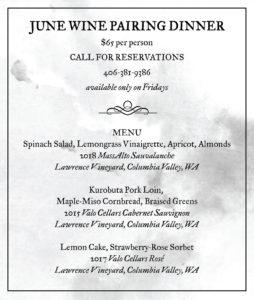 Bozeman Wine Dinner June Menu