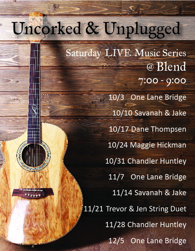 Live Music Saturdays from 7pm to 9pm at Blend in Bozeman